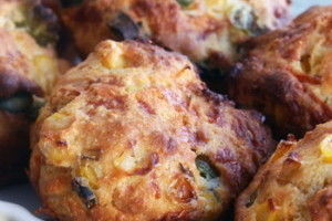 Cheddar and Green Onion Whole Wheat Muffins